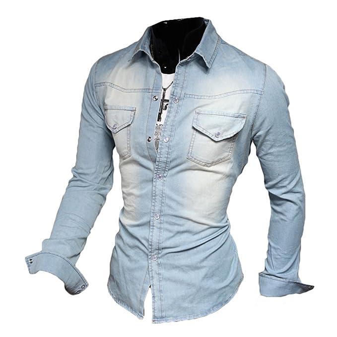 Camisa de Mezclilla de Moda para Hombre Tops Jeans Blusa Camiseta Casual Slim Fit Business Spring