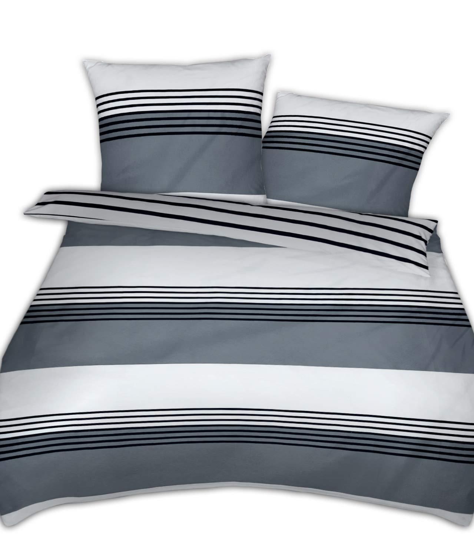 Janine Mako Satin Bettwäsche Silber schwarz 200 x 200 cm + 2 x 80 x 80 cm feinfädige Wendebettwäsche