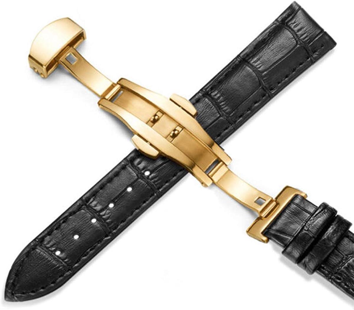 Cuir watchbands Universal Montre Boucle Papillon Bande Boucle Bracelet en Acier Gold Red