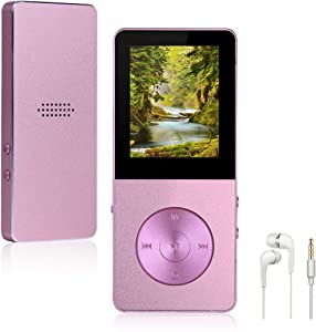 Mp3 Player, Widon 16GB Mp4 Player up to 64GB Metal Body Built-in Speaker Headphones Shuffle A-B Playback Bookmark - FM Radio Voice Recorder Gift for Kids Language Learning Pink3