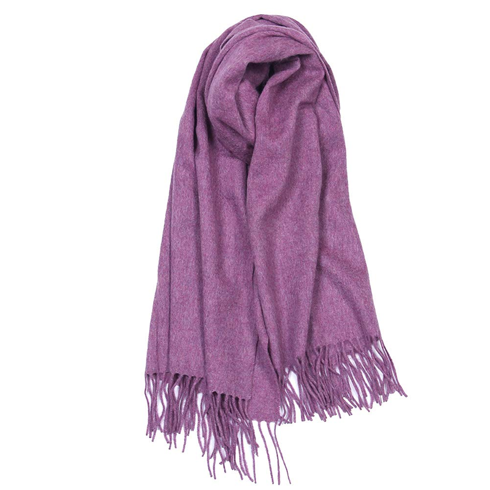 Purple Women's New Scarf, Men's Pure Wool Thick Shawl, Autumn and Winter Soft AllMatch Scarf, 70x200cm (color   Shallow Rice)