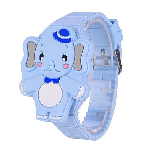 fb92c0c50089 Reloj Infantil Digital Electrónico Nino Niña de Silicona de Moda Dibujos  Animados Animal LED Pantalla Reloj de Pulsera  Amazon.es  Relojes