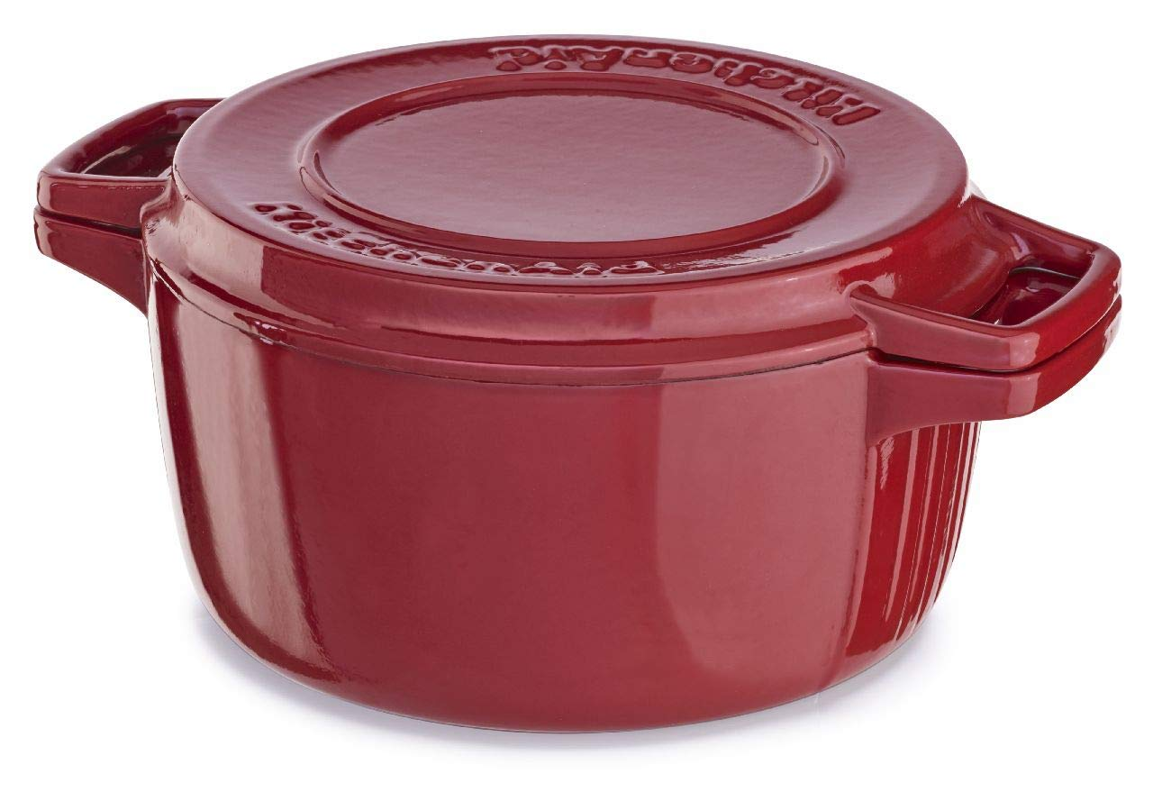 KitchenAid KCPI60CRER Professional Cast Iron 6-Quart Casserole Cookware - Empire Red