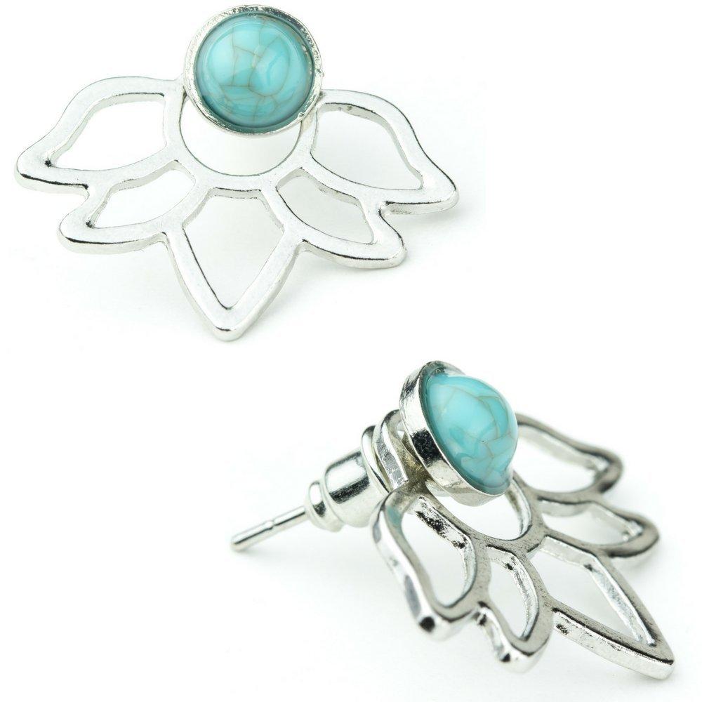 Lotus Flower Earring Stud Turquoise Flower Double Sided Ear Jacket (Silver Lotus)