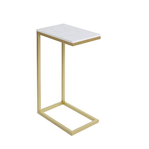 Silverwood Side Table, Gold and faux marble