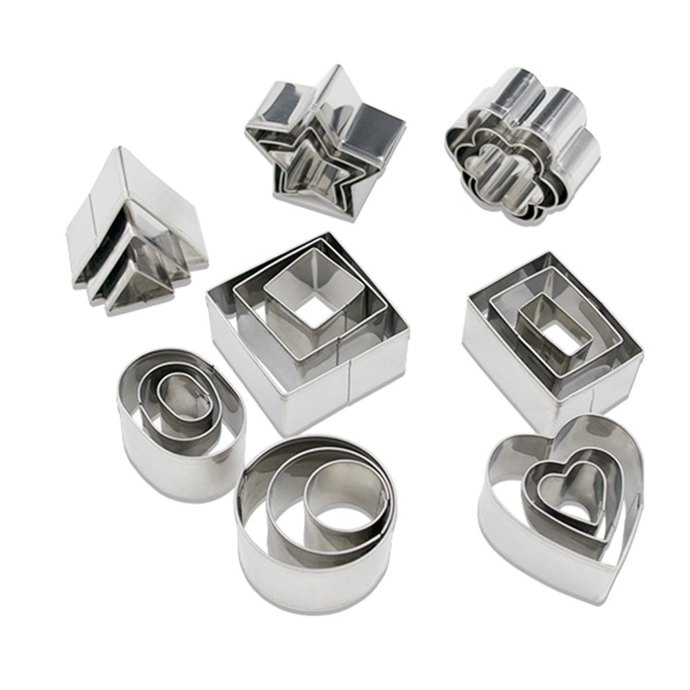 Homy Feel Mini Geometric Shaped Cookie Biscuit Cutter Set 24 Rectangle Square Heart Triangle Round Tiny Circle Baking Stainless Steel Metal Molds