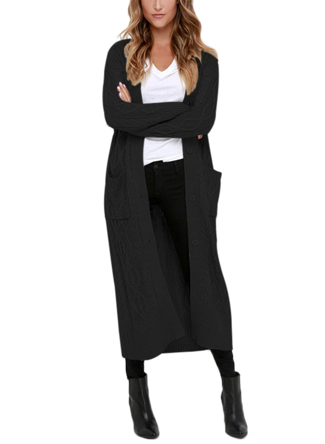 Dearlovers Womens Open Front Casual Long Maxi Cardigans Knit Sweater Outerwear X-Large Size Black