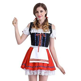 da2ac0ab74d7c9 Mitlfuny Damen Dirndl Set Midi Trachtenkleid Kurzarm Dirndlbluse Oktoberfest  Kostüm Karneval Fasching Kleid Halloween Cosplay Trachtenkleid