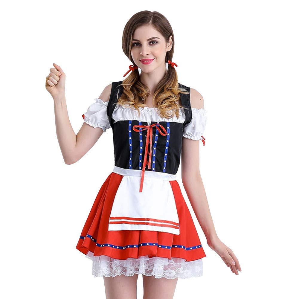 Beer Festival Dress,Anboo Women's Lace Oktoberfest Costume Bavarian Beer Girl Drindl Cosplay Dress,Red (M, Red)