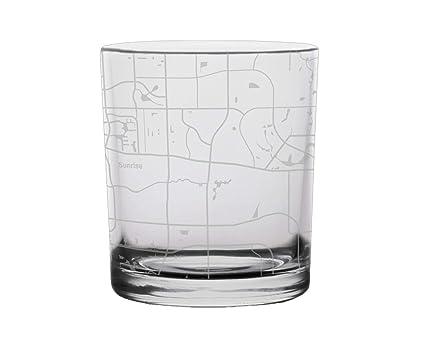 Map Of Sunrise Florida.Amazon Com Sunrise City Map Whiskey Glass Florida Kitchen Dining