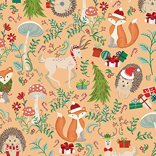 Fox and Friends Christmas Wrapping Paper, 2 feet x 20 feet Rolled Christmas Gift wrap with Fox, Hedgehog, and Deer, WRAP & Revel® R