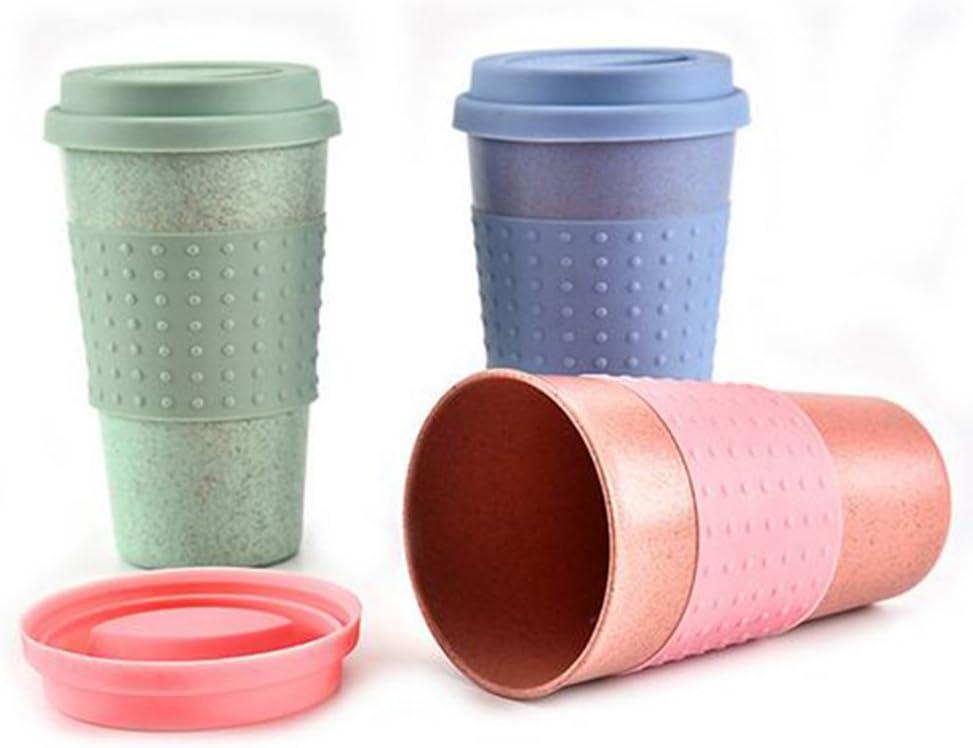 Vaso con aislamiento térmico para té o café, ecológico, con tapa, para llevar de viaje Tamaño libre verde
