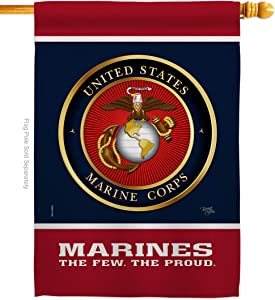 Breeze Decor Marine Corps Proud House Flag Armed Forces USMC Semper Fi United State American Military Veteran Retire Official Small Decorative Gift Yard Banner Double-Sided Made in USA 28 X 40