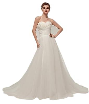 Yimistyle Dress Womens Simple A Line Wedding Dress Modest White