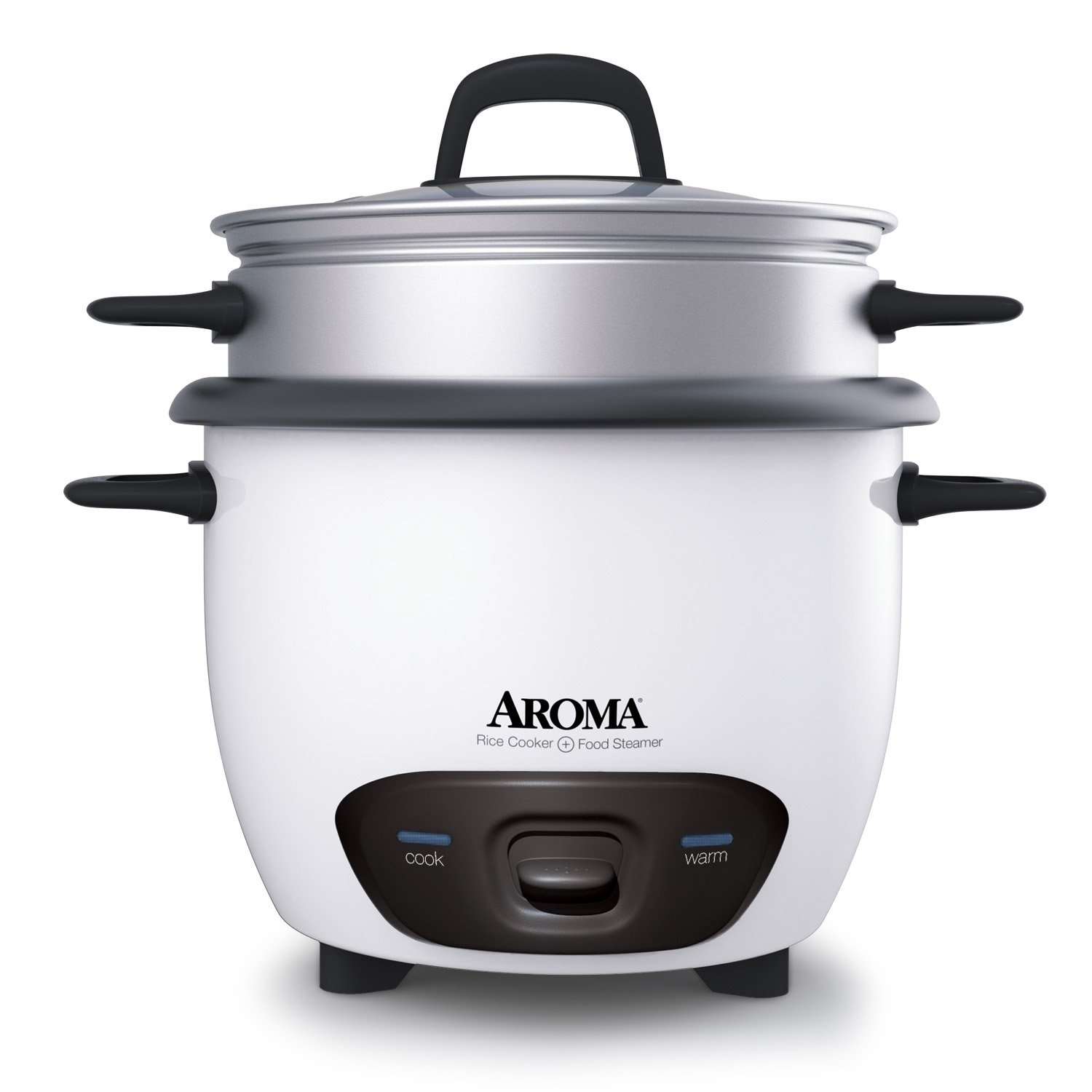 Aroma Housewares 6-Cup (Cooked)(3-Cup UNCOOKED) Pot Style Rice Cooker and Food Steamer (ARC-743-1NG)