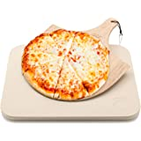 Pizza Stone by Hans Grill Baking Stone For Pizzas use in Oven and Grill / BBQ FREE Wooden Pizza Peel Rectangular Board 15 x 1