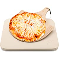 Hans Grill Pizza Stone Baking Stone for Pizzas use in Oven and Grill/BBQ Free Wooden Pizza Peel Rectangular Board 15 x 12 Inches Easy Handle Baking   Bake Grill, for Pies, Pastry Bread, Calzone