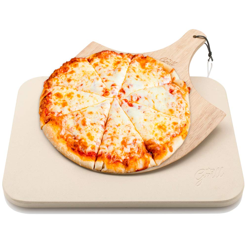Hans Grill Pizza Stone Set For Oven or BBQ | Large Baking Stones With The BEST Wooden Pizza Peel FREE - Make Italian Pizza Base | Barbecue Bake Hob | Cooking Bread, Calzone using Plate, Board/Paddle