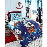 SWASHBUCKLE PIRATES PARROT SHIP REVERSIBLE SINGLE DUVET COVER BEDDING SET - BLUE