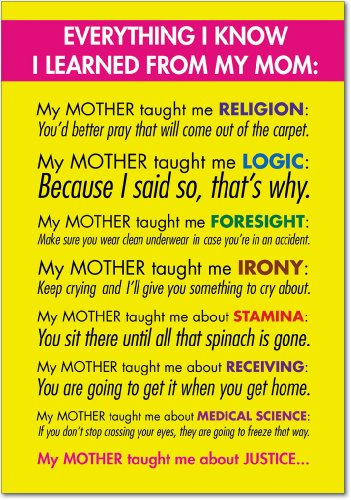 "7208 'Learned From Mom' - Funny Mother's Day Greeting Card with 5"" x 7"" Envelope by NobleWorks"