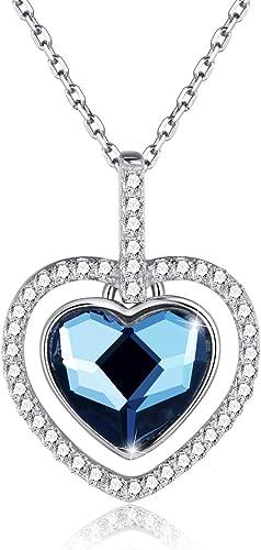 Collier avec pendentif coeur de dames amour avec cristal bleu swarovski,  Collier en argent sterling 925 avec zircone 5A, Chaîne d'extension 45 + 5cm