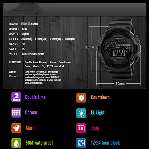 Amazon.com: Outdoor Sport Watch Men Multifunction 5Bar Waterproof PU Strap LED Display Watches Chrono Digital Watch reloj Hombre 1243,red: Cell Phones & ...