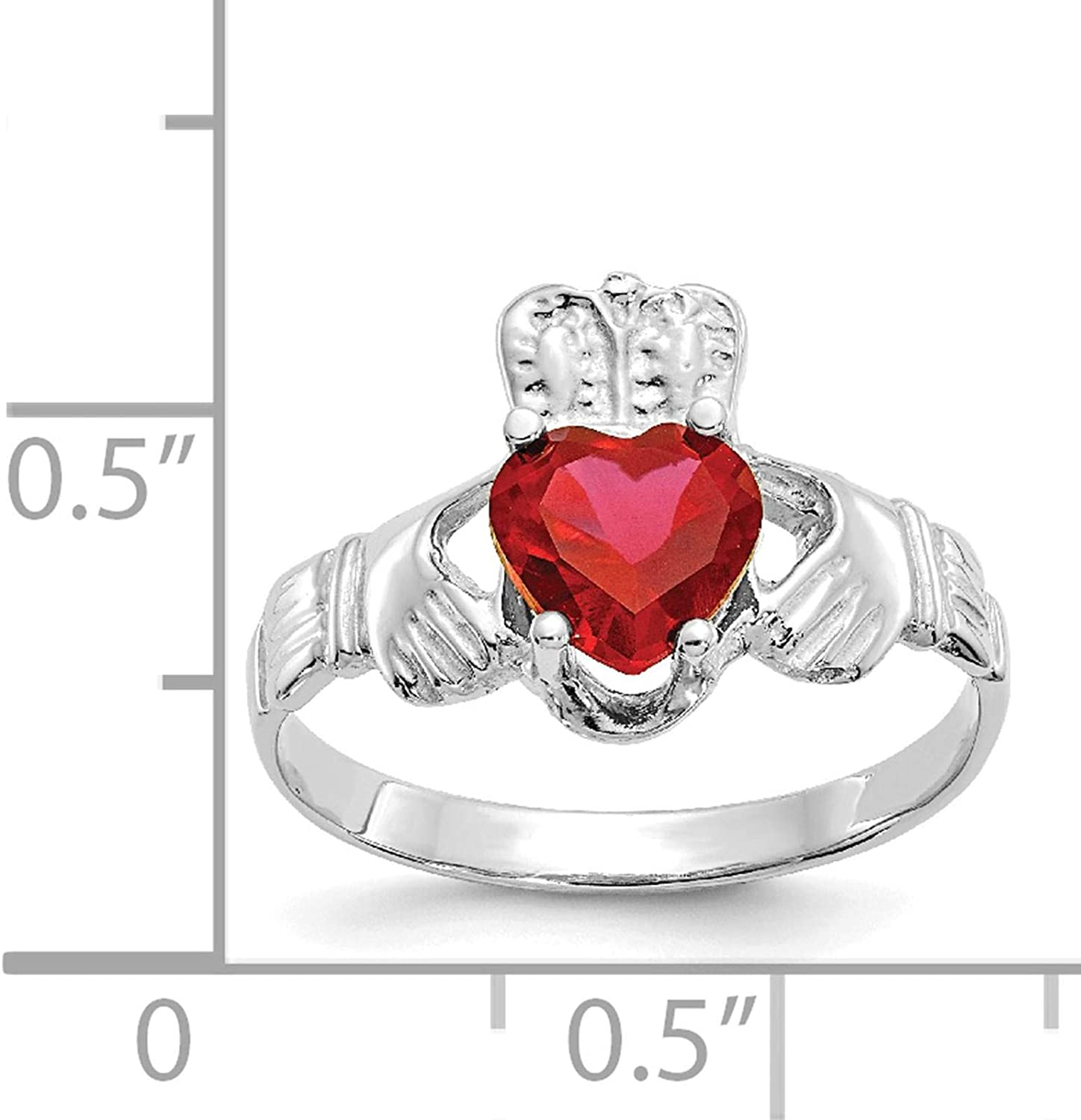 14K White Gold July CZ Stone Claddagh Heart Ring Size 5