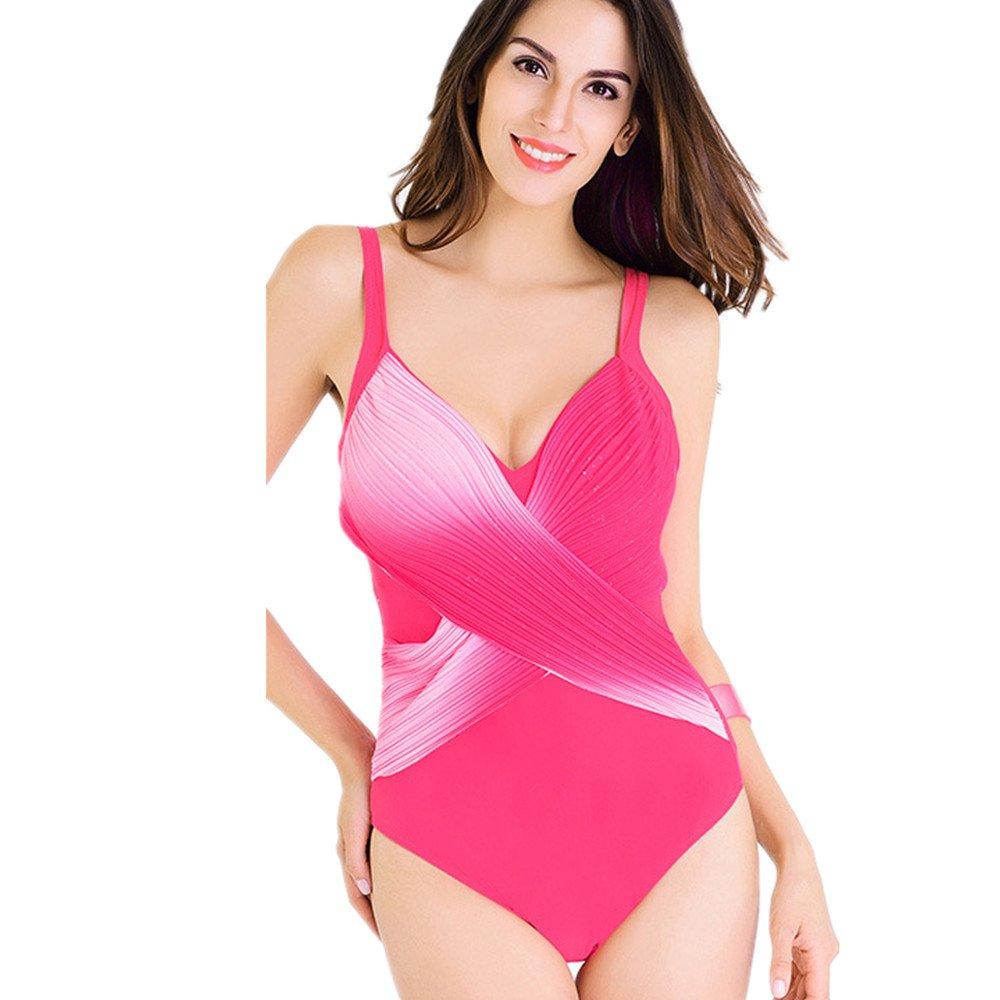 女性の服 水着 女性の服 印刷 シャム 水着 集まる スパ 水着 に適して 水泳 ウェディング エクササイズ スパ (Color : Pink, Size : L) B07DZQW7LS Large|Pink