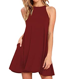 f2ff1637f59bc Sarin Mathews Women s Halter Neck Sleeveless Casual Swing T-Shirt Loose  Dress