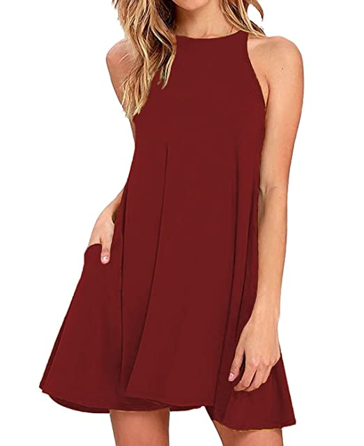 e67cbd9c35b3e Sarin Mathews Women s Halter Neck Sleeveless Casual Swing T-Shirt Loose  Dress Burgundy L