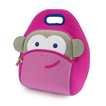 Dabbawalla Bags Blushing Pink Monkey Kids  Insulated Washable    Eco-Friendly Lunch Bag Tote 790bab1afbf9b