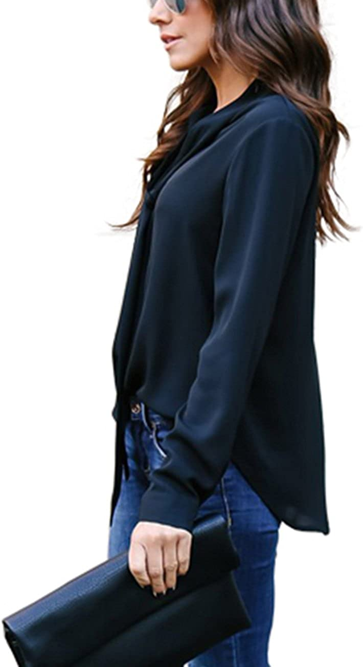 Yidarton Womens Cuffed Long Sleeve Casual V Neck Chiffon Blouses Tops with Tie
