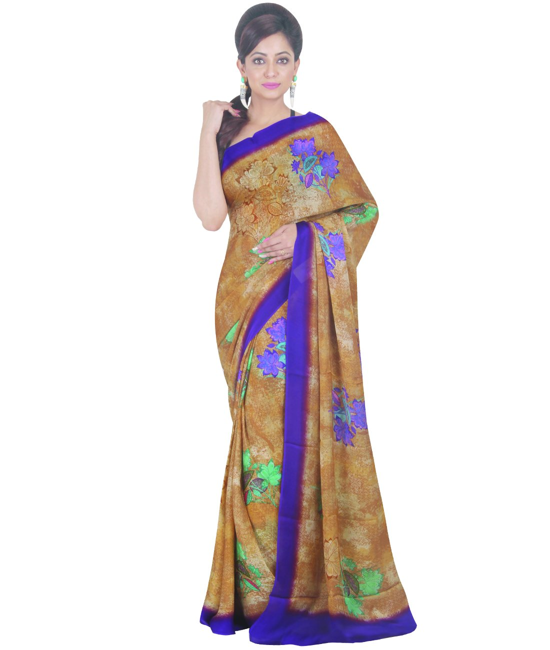 Indian Ethnic Faux Georgette Light Brown Printed Saree