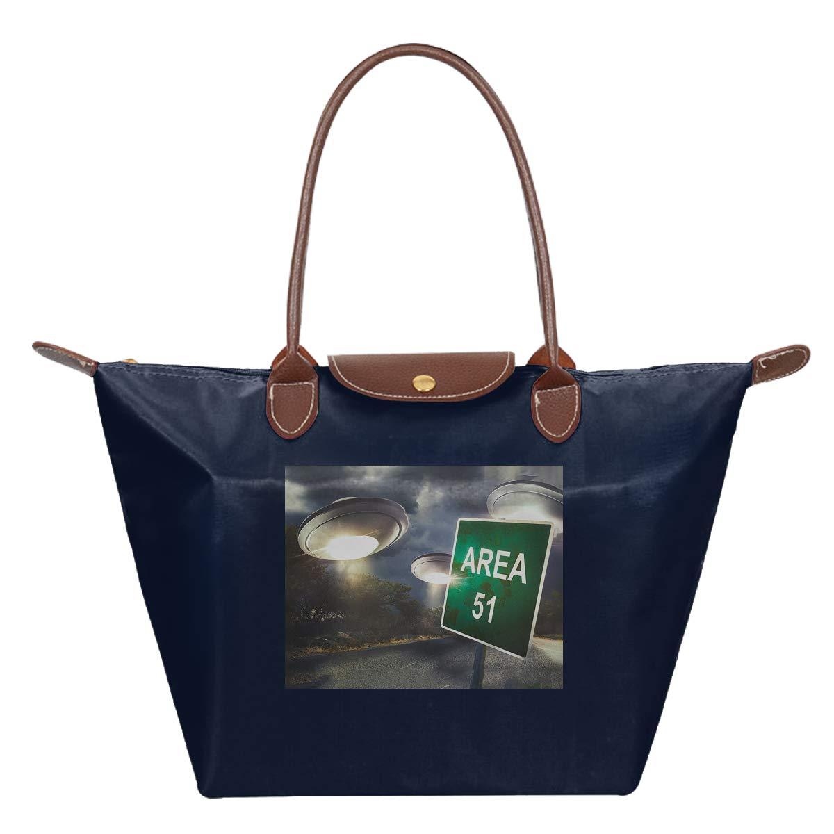 Area 51 UFO Aliens Spaceship Space Waterproof Leather Folded Messenger Nylon Bag Travel Tote Hopping Folding School Handbags