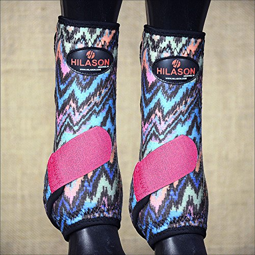 HILASON Medium Horse Front Leg Sport Boot Ultimate Protection Zigzag Pink