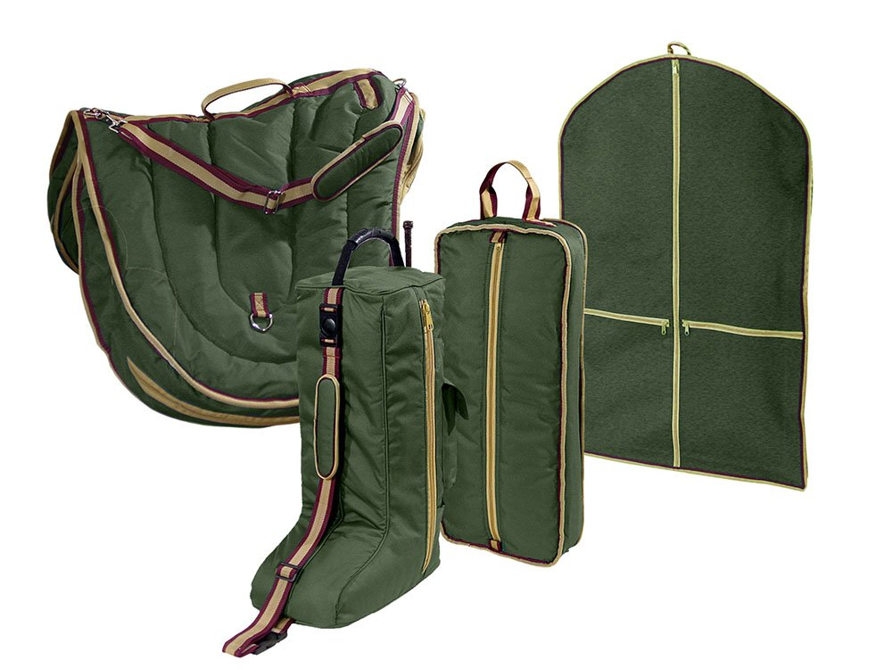 Derby English Horse Saddle, Bridle, Boot, and Garment Carry Bag Set with One year warranty Royal International 81-8105BK