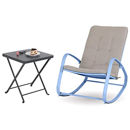 Pleasant Sophia And William Outdoor Patio Rocking Chair Folding Patio Side Table Rocker Chair With Small Square End Tables Bluegrey Squirreltailoven Fun Painted Chair Ideas Images Squirreltailovenorg