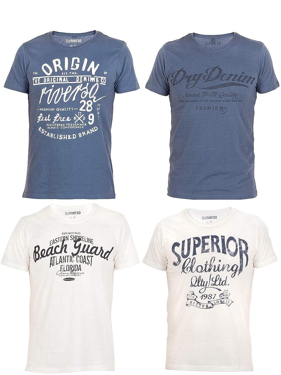 Grau riverso Herren T-Shirt Leon 4er Pack Rundhals O-Neck mit Print S-5XL 100/% Baumwolle Blau Regular Fit Wei/ß Gr/ün