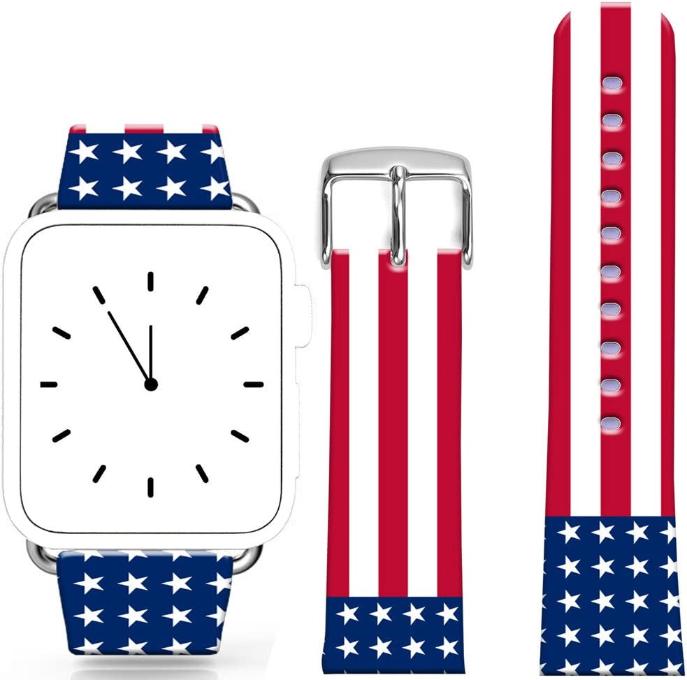 Band Compatible for Iwatch 42mm/44mm Series 1/2/3/4 / Topgraph Replacement Leather Strap Compatible for iWatch 42mm/44mm USA National Flag