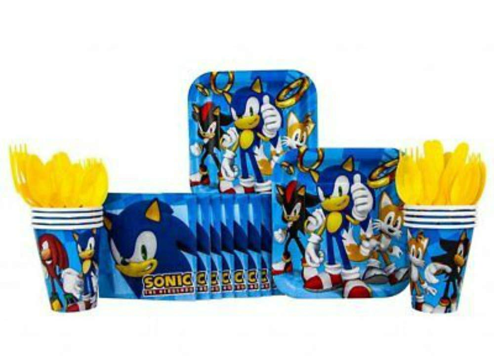 CAPRILO Lote de Cubiertos Infantiles Desechables Modern Sonic Bodas .Vajillas y Complementos 24 Vasos, 24 Platos y 32 Servilletas Bautizos y Comuniones. Juguetes y Regalos de Cumplea/ños