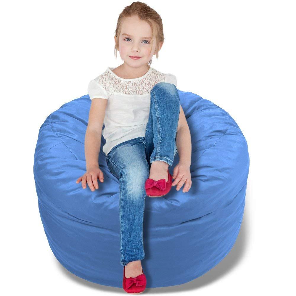 BeanBob Bean Bag Chair (Sapphire Blue), 2.5ft - Bedroom Sitting Sack for Kids w/Super Soft Foam Filling