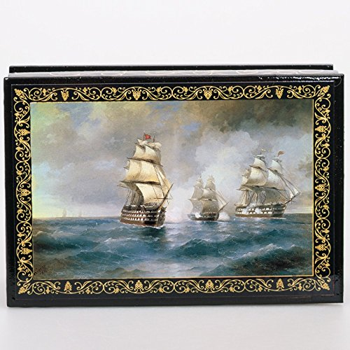 Beautiful Wooden Lacquer Box for Storage Brig 'Mercury' Attacked by Two Turkish Ships (by Aivazovsky) Great Gift for Women