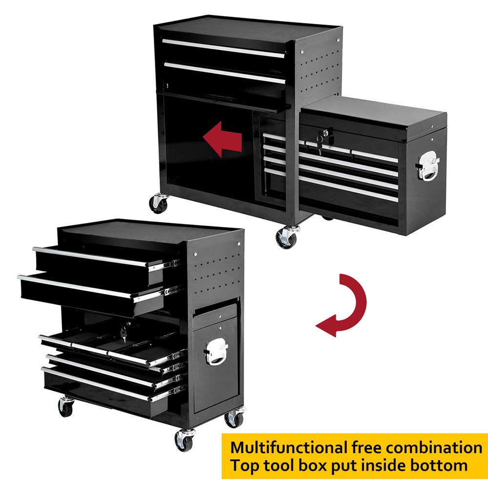 2Pcs Tool Storage Box Portable Top Chest Rolling Tool Box Organizer Sliding Drawers Cabinet Keyed Locking System Toolbox Black by Suny Deals (Image #5)