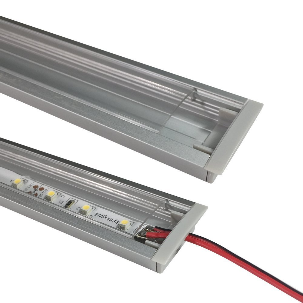 LightingWill 10-Pack 3.3ft//1M 10x30mm Black U-Shape Internal Width 20mm LED Aluminum Channel System with Cover End Caps and Mounting Clips Aluminum Profile for LED Strip Light Installations