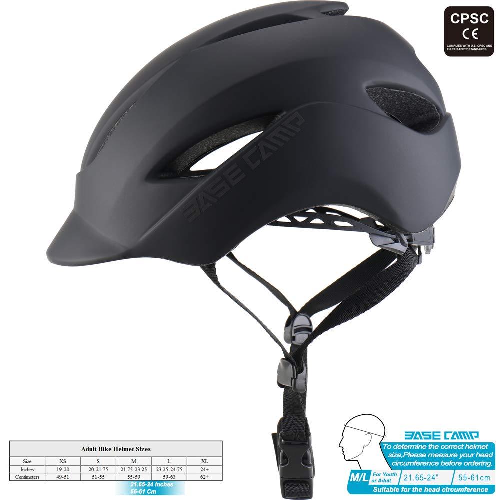 Casco Bicicleta con Luz Trasera LED de Seguridad para cercanías urbanas,Casco Bicic para Skateboarding, tamaño ML Ajustable (22-24 Pulgadas)