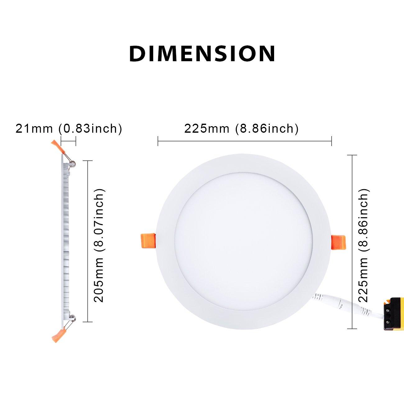 Confezione da 2 Pezzi Luce bianca naturale 1600Lm 18W Faretti da Incasso LVWIT Pannello Rotondo Equivalenti a 108W