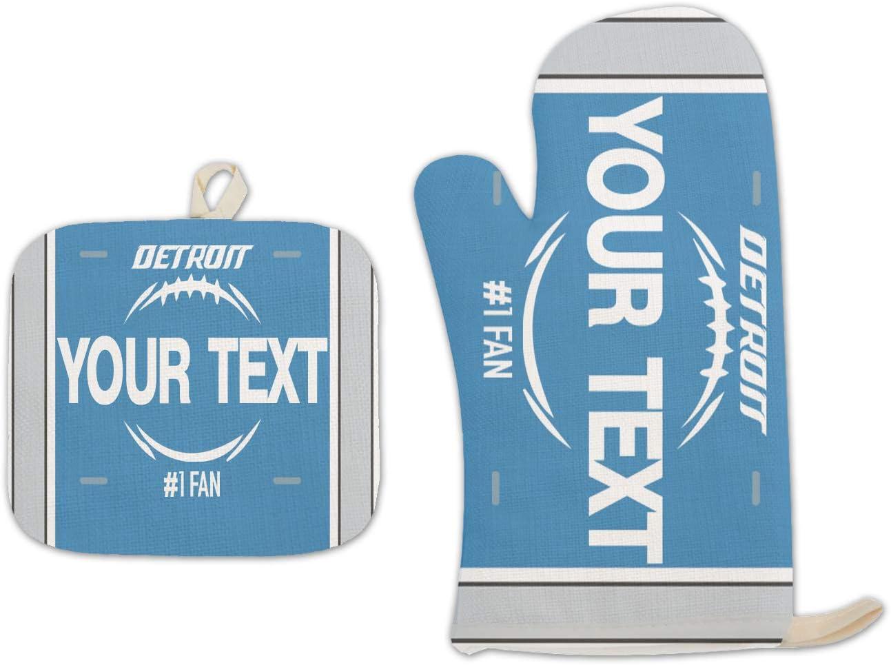 Bleu Reign BRGiftShop Personalized Custom Name Football Team Detroit Linen Oven Mitt and Potholder Set