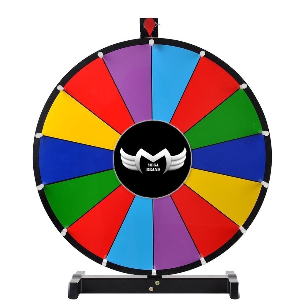 MegaBrand 24 Tabletop Spinning Prize Wheel 14 Slots with Color Dry Erase 35PRW001-24in14S-BK