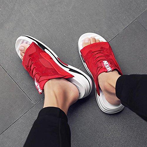 Plage Sandales Ouvert Fond Décontractées Usage Chaussures Sunny Chaussures Saison Chaussures Respirant D'été Bout Sandales Red De De Épais Plage Extérieur Sandales Hommes pour Double ttTwP