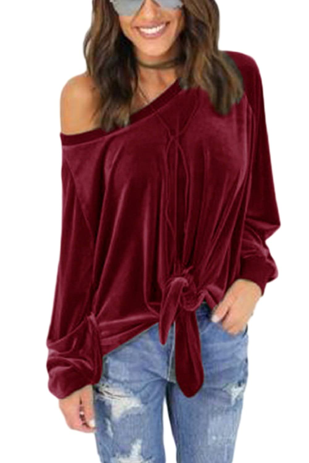 bd3f367e5aefe Women Casual Tops One Shoulder Lace up Loose Top at Amazon Women s Clothing  store